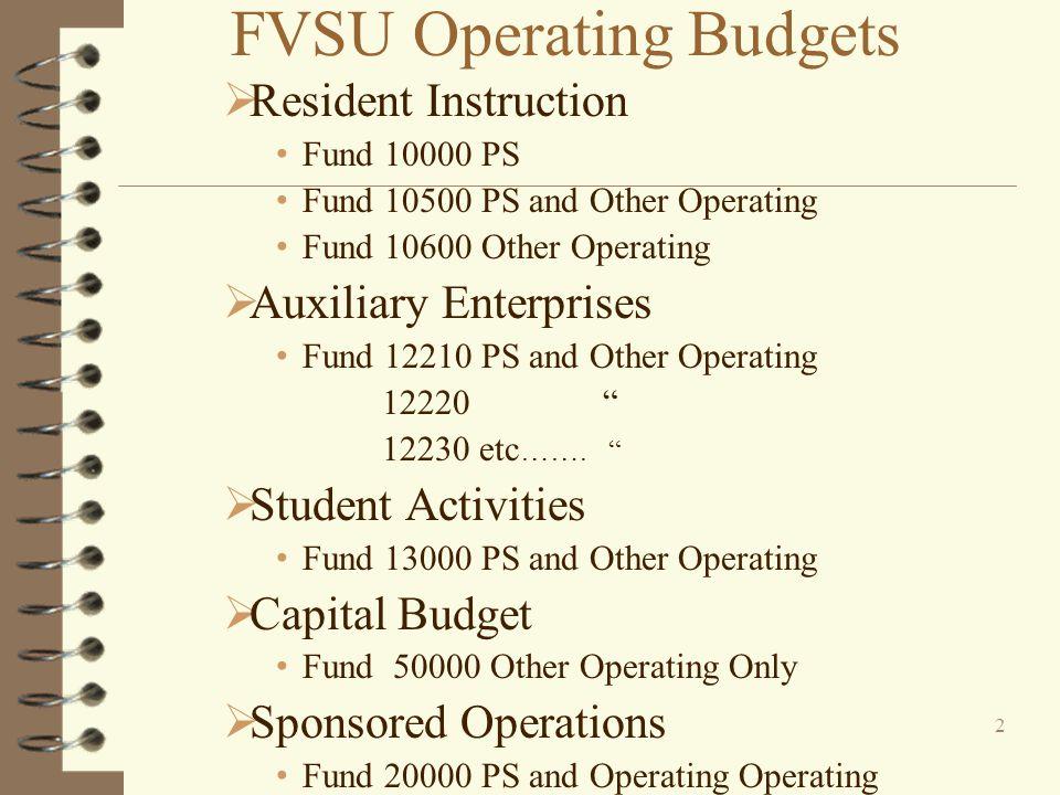 FVSU Operating Budgets Resident Instruction Fund 10000 PS Fund 10500 PS and Other Operating Fund 10600 Other Operating Auxiliary Enterprises Fund 12210 PS and Other Operating 12220 12230 etc …….