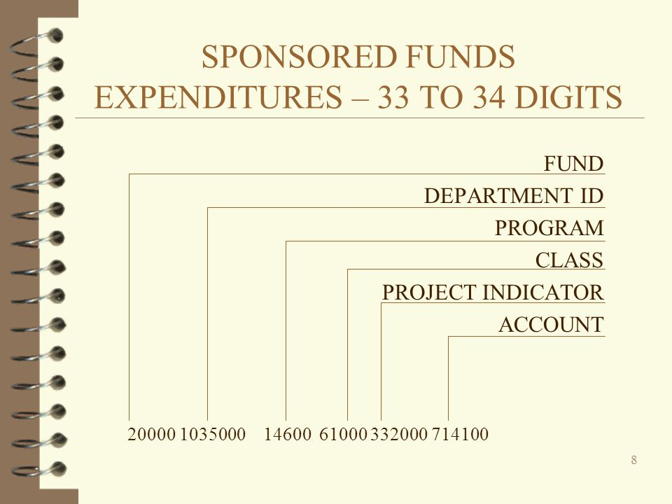SPONSORED FUNDS EXPENDITURES – 33 TO 34 DIGITS FUND DEPARTMENT ID PROGRAM CLASS PROJECT INDICATOR ACCOUNT 20000 1035000 14600 61000 332000 714100 8