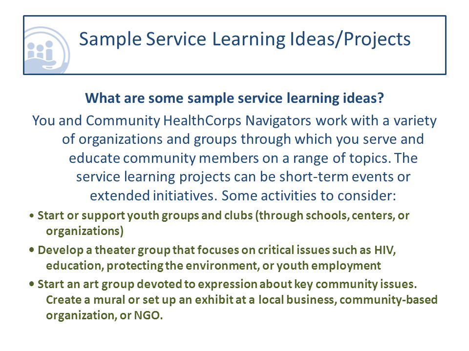 What are some sample service learning ideas.
