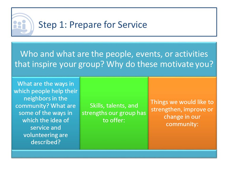 Who and what are the people, events, or activities that inspire your group.