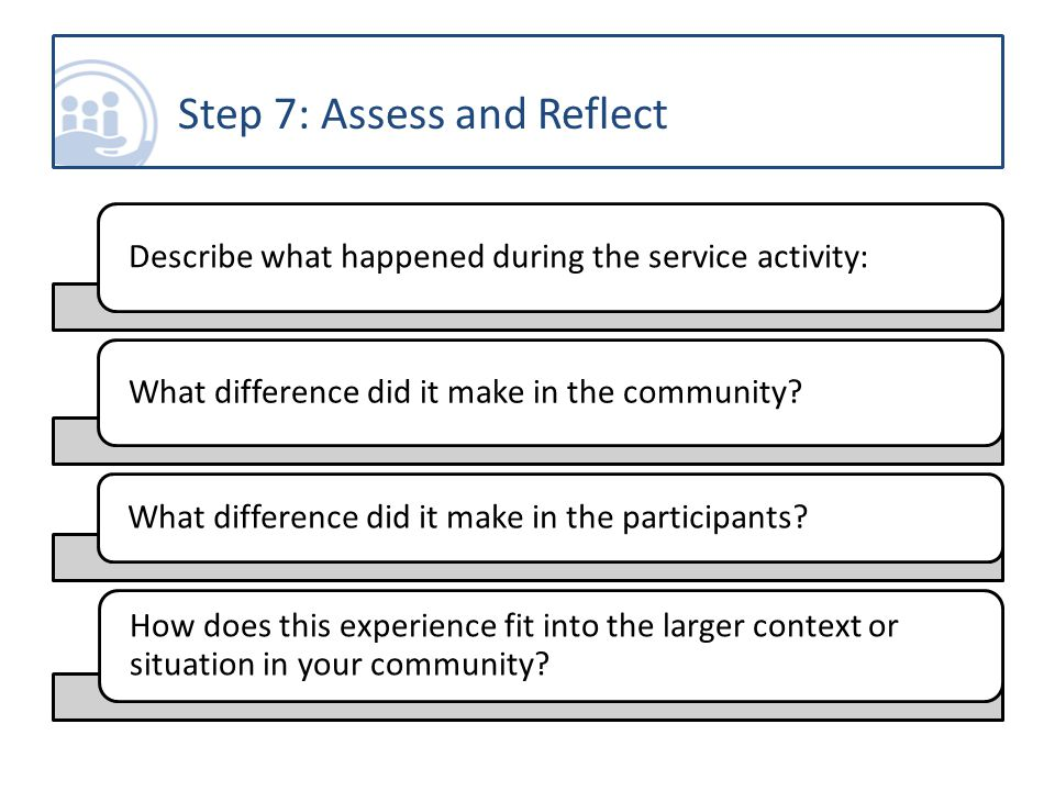 Describe what happened during the service activity: What difference did it make in the community.