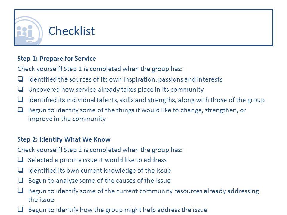 Step 1: Prepare for Service Check yourself.