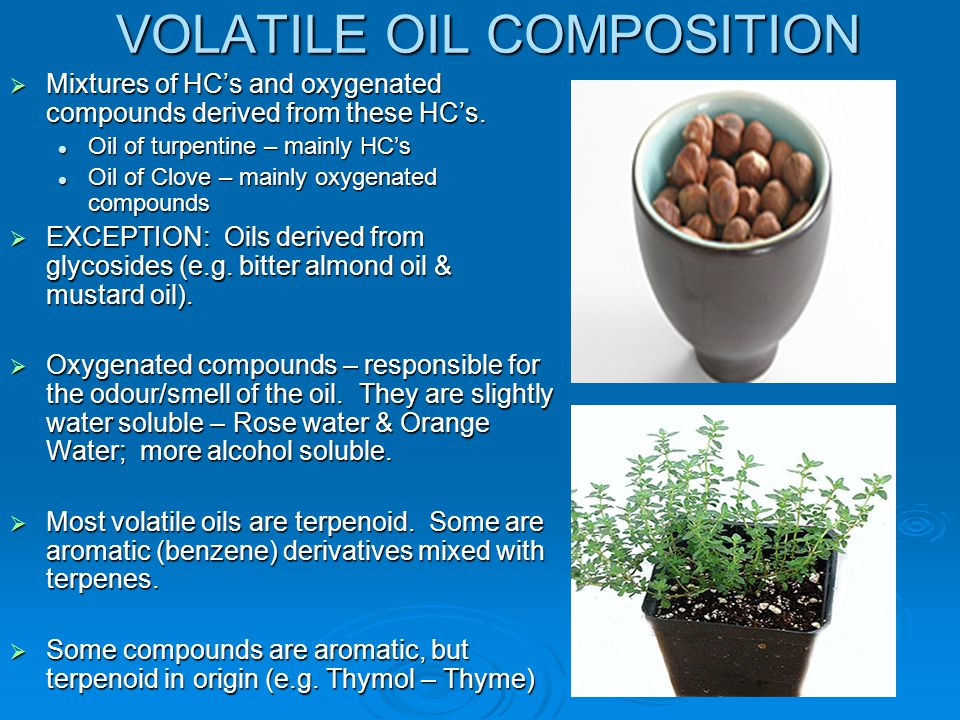 CHEMICAL COMPOSITION Volatile oils are divided into 2 main classes based on their biosynthetic origin i.