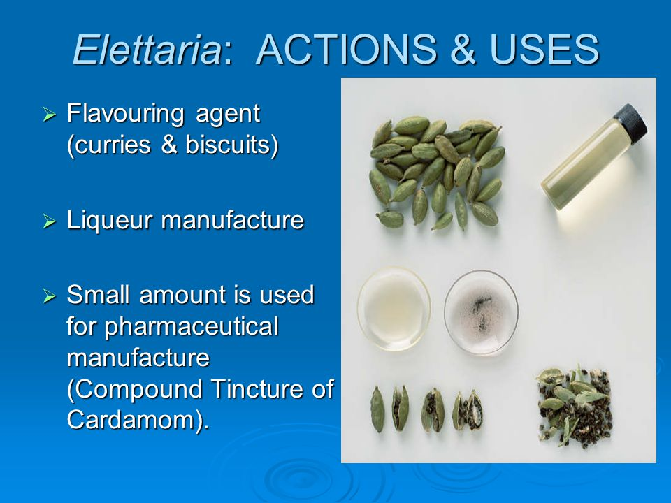 Elettaria: ACTIONS & USES Flavouring agent (curries & biscuits) Flavouring agent (curries & biscuits) Liqueur manufacture Liqueur manufacture Small am