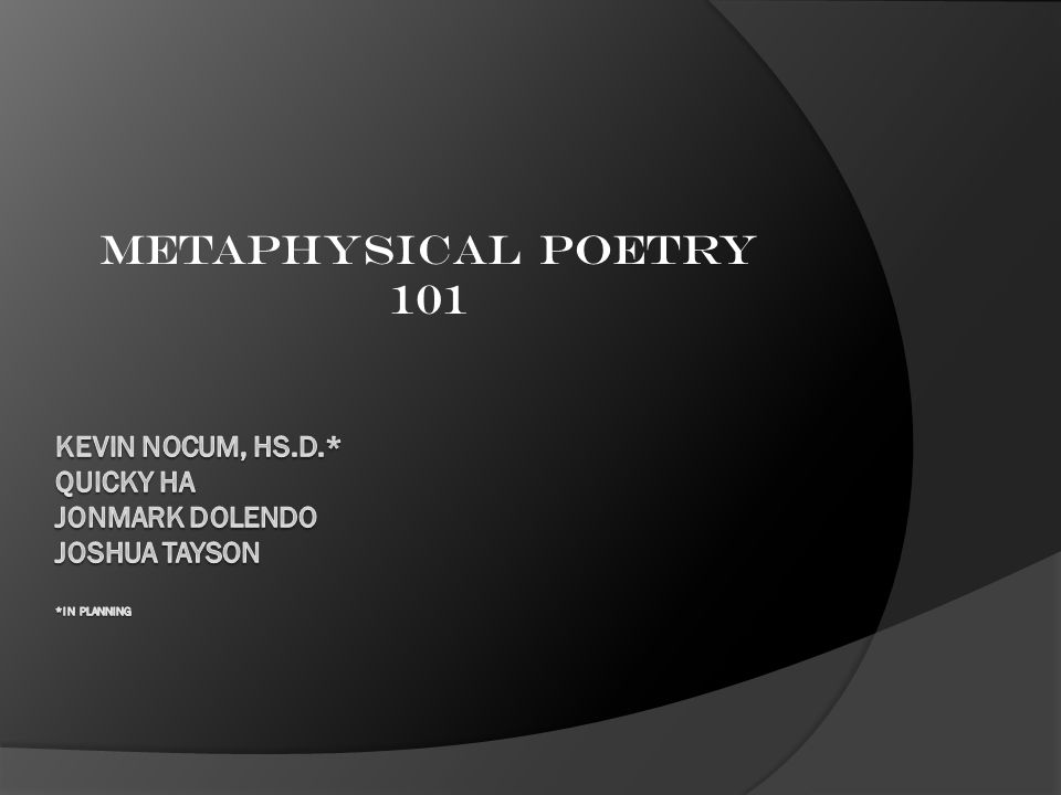 Metaphysical Poetry 101