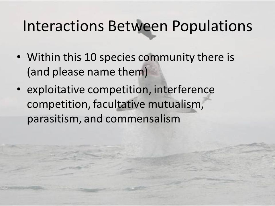 Interactions Between Populations Within this 10 species community there is (and please name them) exploitative competition, interference competition, facultative mutualism, parasitism, and commensalism