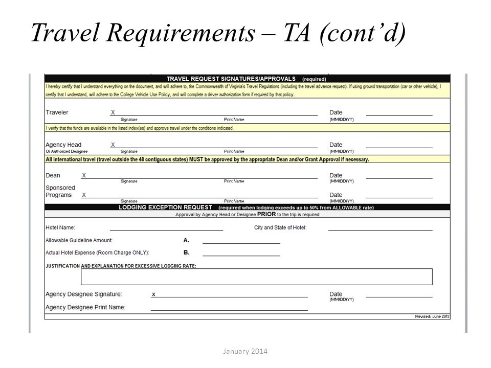 Travel Requirements – TA (contd) January 2014