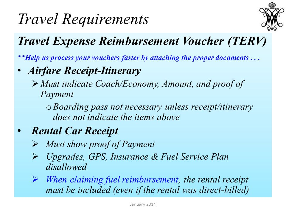 Travel Requirements Travel Expense Reimbursement Voucher (TERV) **Help us process your vouchers faster by attaching the proper documents... Airfare Re