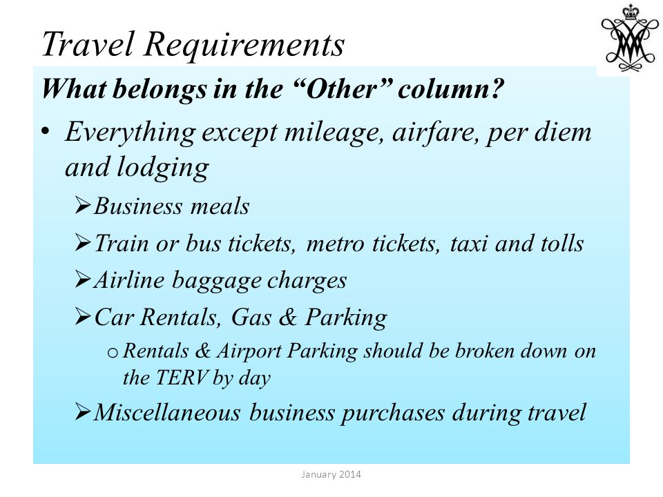 Travel Requirements What belongs in the Other column.