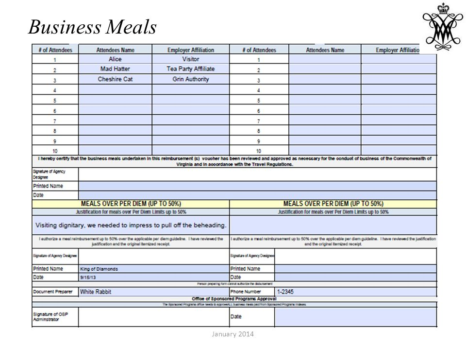 Business Meals January 2014