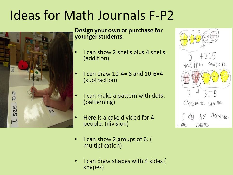 Ideas for Math Journals F-P2 Design your own or purchase for younger students. I can show 2 shells plus 4 shells. (addition) I can draw 10-4= 6 and 10