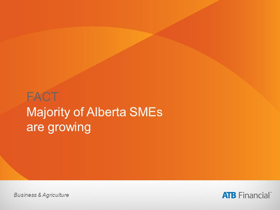 Business & Agriculture FACT Majority of Alberta SMEs are growing