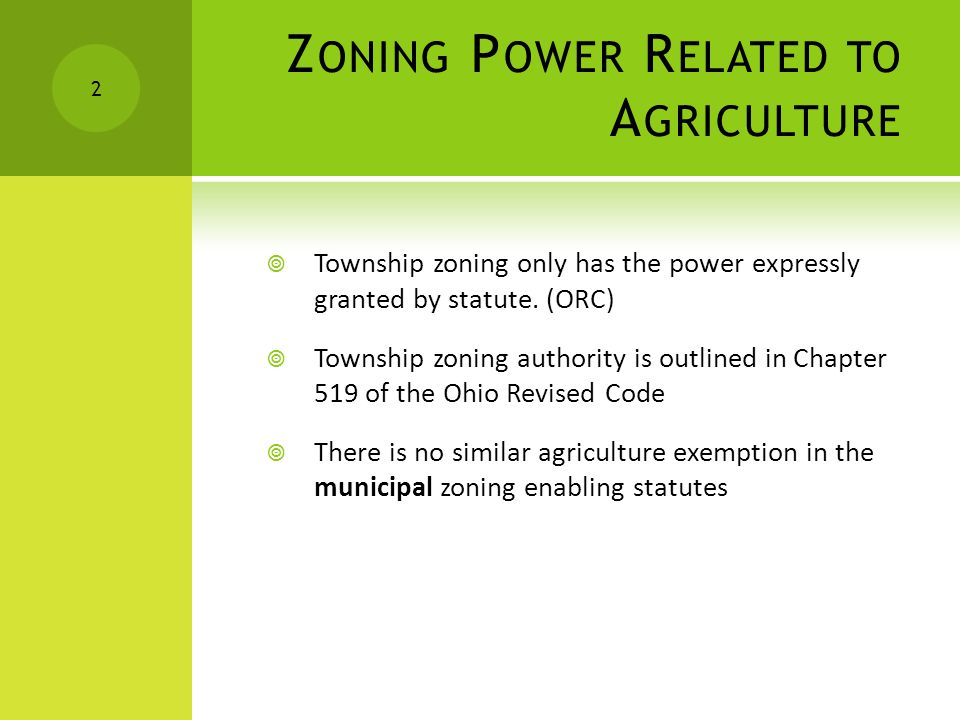 Z ONING P OWER R ELATED TO A GRICULTURE Township zoning only has the power expressly granted by statute.
