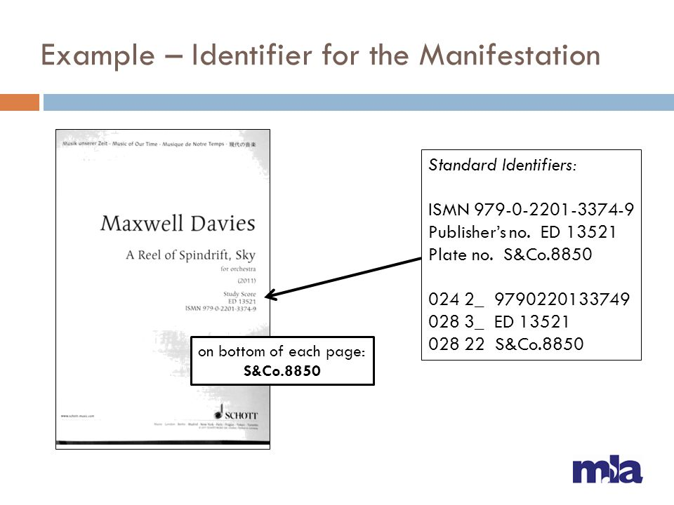 Example – Identifier for the Manifestation Standard Identifiers: ISMN 979-0-2201-3374-9 Publishers no. ED 13521 Plate no. S&Co.8850 024 2_ 97902201337