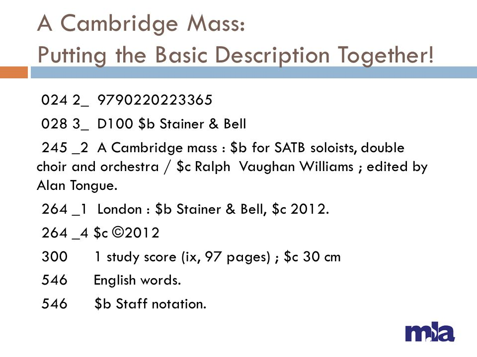 A Cambridge Mass: Putting the Basic Description Together! 024 2_ 9790220223365 028 3_ D100 $b Stainer & Bell 245 _2 A Cambridge mass : $b for SATB sol