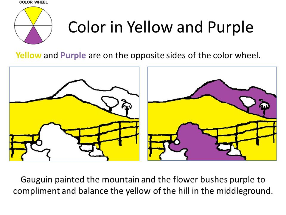 Color in Yellow and Purple Gauguin painted the mountain and the flower bushes purple to compliment and balance the yellow of the hill in the middlegro