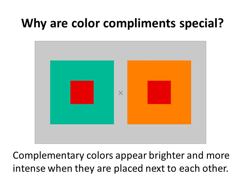 Why are color compliments special? Complementary colors appear brighter and more intense when they are placed next to each other.