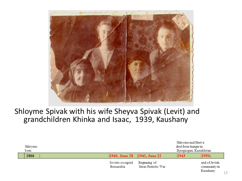 Shloyme Spivak with his wife Sheyva Spivak (Levit) and grandchildren Khinka and Isaac, 1939, Kaushany 1866 | |1940, June 28 |1941, June 22 |1943 |1950s Shloyme and Sheiva Shloyme died from hunger in born Djezgazgan, Kazakhstan Soviets occupied Beginning of end of Jewish Bessarabia Great Patriotic War community in Kaushany 13