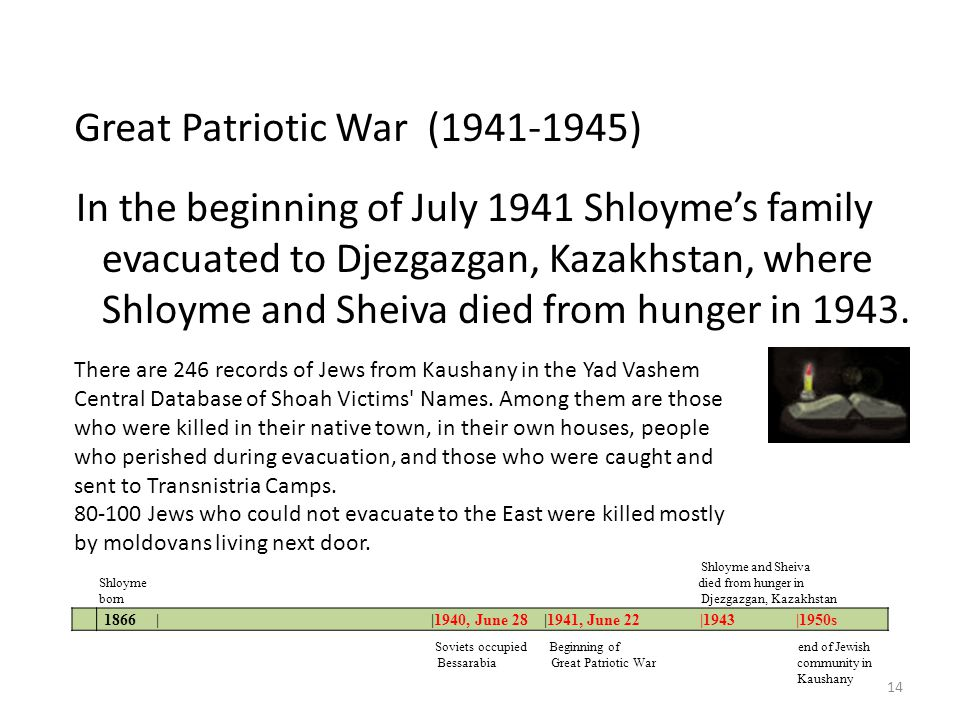 In the beginning of July 1941 Shloymes family evacuated to Djezgazgan, Kazakhstan, where Shloyme and Sheiva died from hunger in 1943. 1866 | |1940, Ju