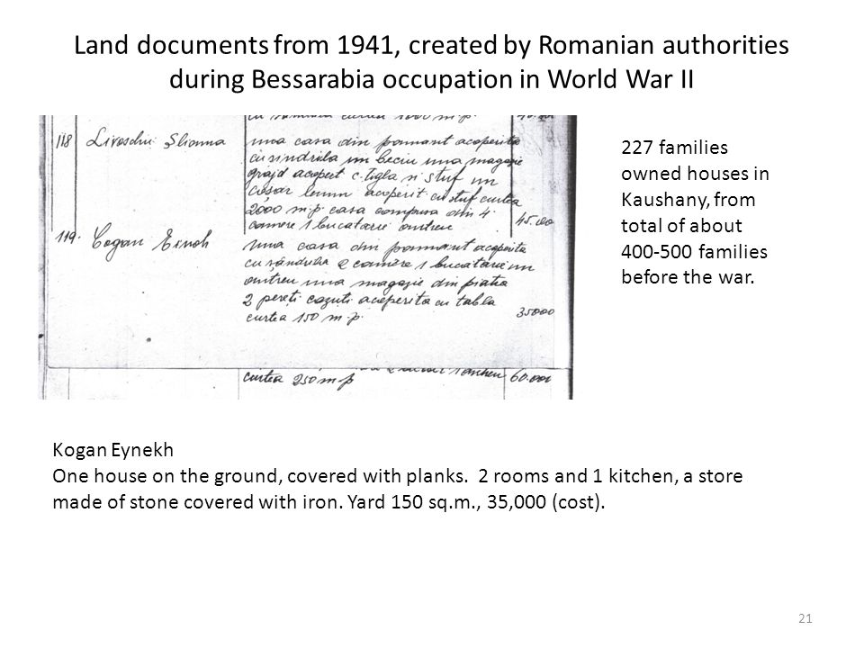 Land documents from 1941, created by Romanian authorities during Bessarabia occupation in World War II 21 Kogan Eynekh One house on the ground, covered with planks.