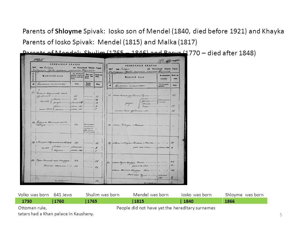 Parents of Shloyme Spivak: Iosko son of Mendel (1840, died before 1921) and Khayka Parents of Iosko Spivak: Mendel (1815) and Malka (1817) Parents of Mendel: Shulim (1765 – 1846) and Basya (1770 – died after 1848) Father of Shulim: Volko (c1730) 1730 |1760 |1765 |1815 | 18401866 Ottoman rule, People did not have yet the hereditary surnames tatars had a Khan palace in Kaushany.
