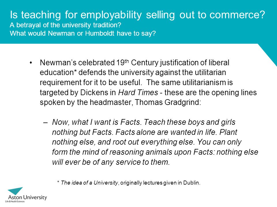 Is teaching for employability selling out to commerce.