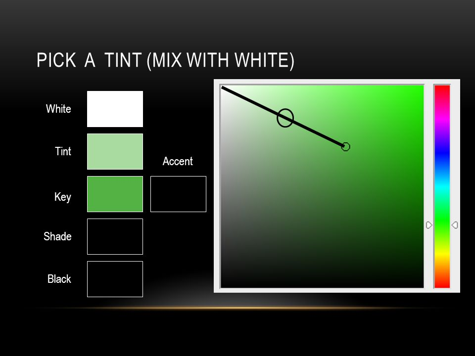 PICK A TINT (MIX WITH WHITE) Key White Black Tint Shade Accent