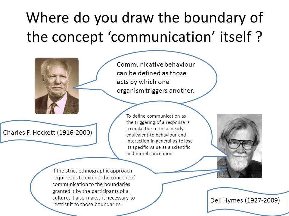 Where do you draw the boundary of the concept communication itself .