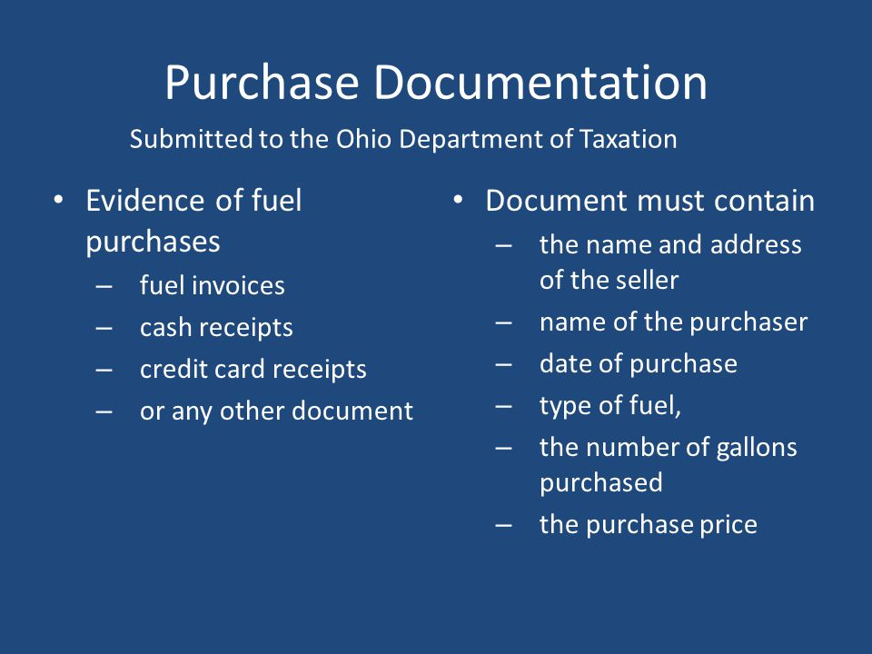 Minimum Rebate Requirement No refund shall be authorized under Ohio Revised Code Section 5735.142 for any single refund claim for less than 100 gallon