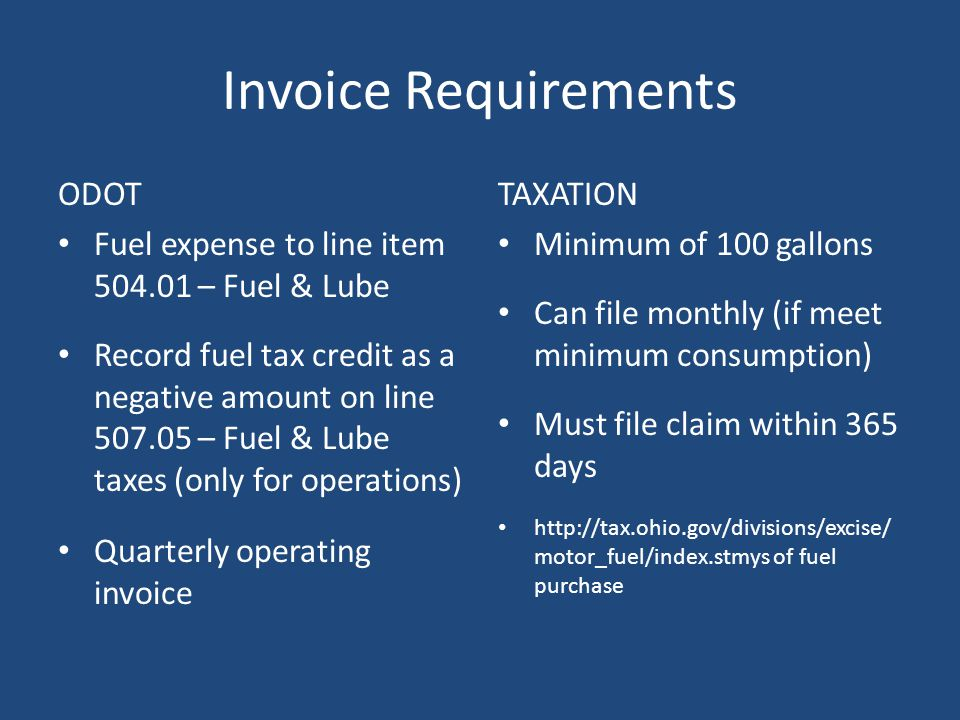 Fuel Usage Documentation Fuel available (inventory) Fuel sold to others Consumed in vehicles other than qualified transit buses (i.e., Service Vehicle