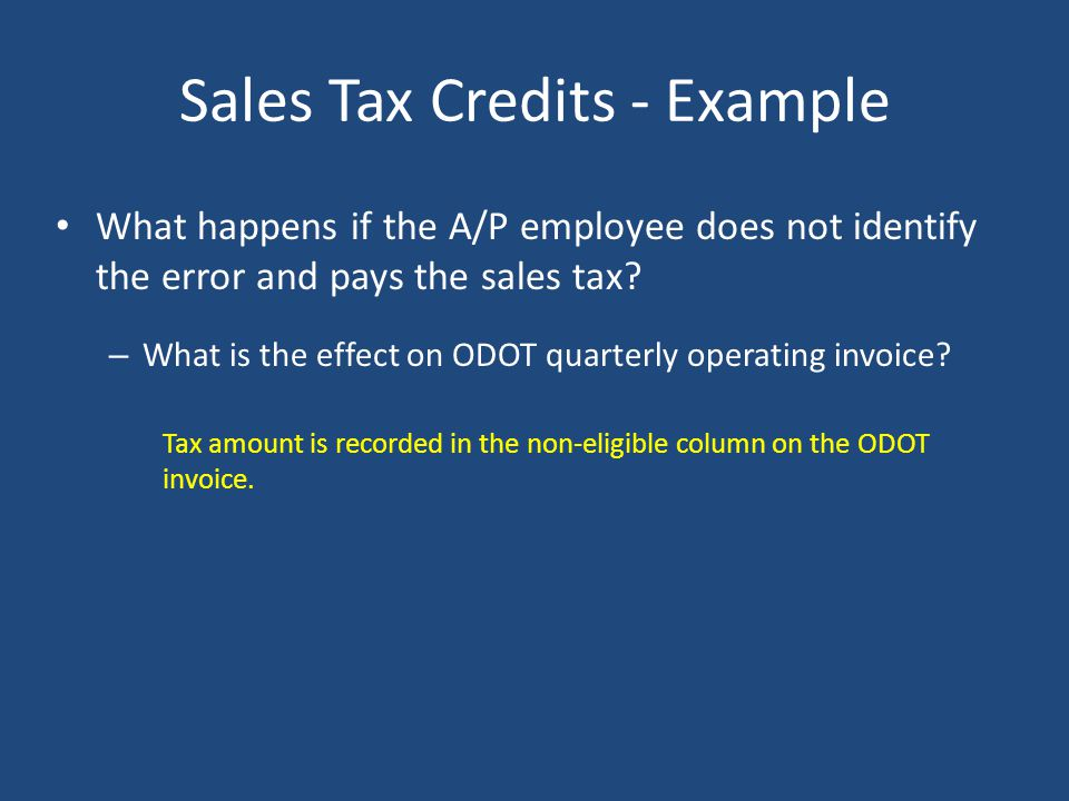 Sales Tax Credits - Example Mechanic makes a purchase at the local auto parts store and charges it to the transit account. The sales receipt provided