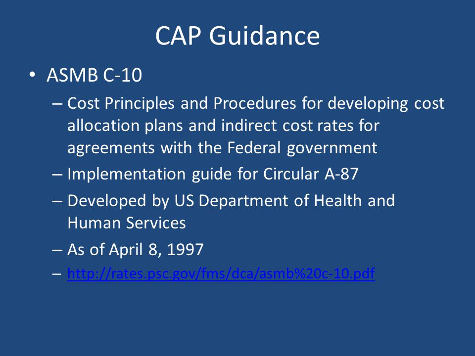 CAP Support Must be accompanied by – An organization chart – A copy of the Comprehensive Annual Financial Report (CAFR) – Brief description of the ser