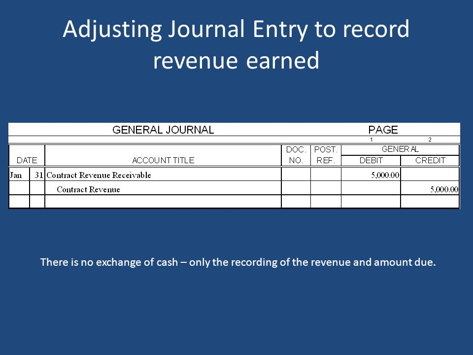 An example of an accrual – contract revenue When does the Transit record the revenue? Revenue must be recorded in the time period earned, which would