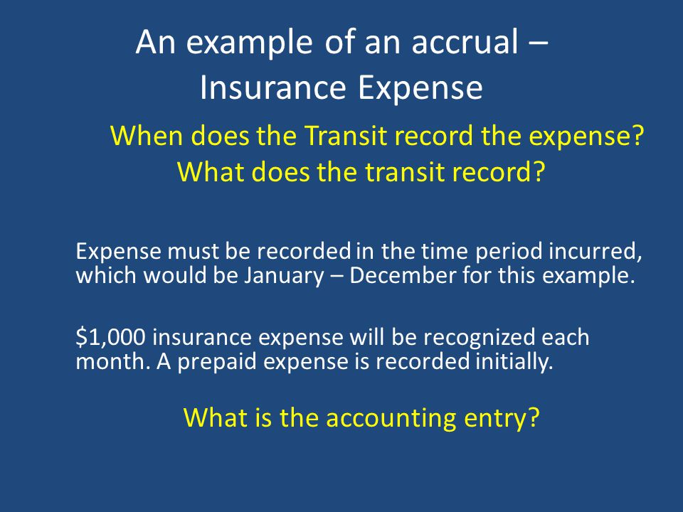 Insurance Liability Transit receives invoice for insurance - $12,000 for the current year in January. Transit pays $12,000 invoice in January. When do