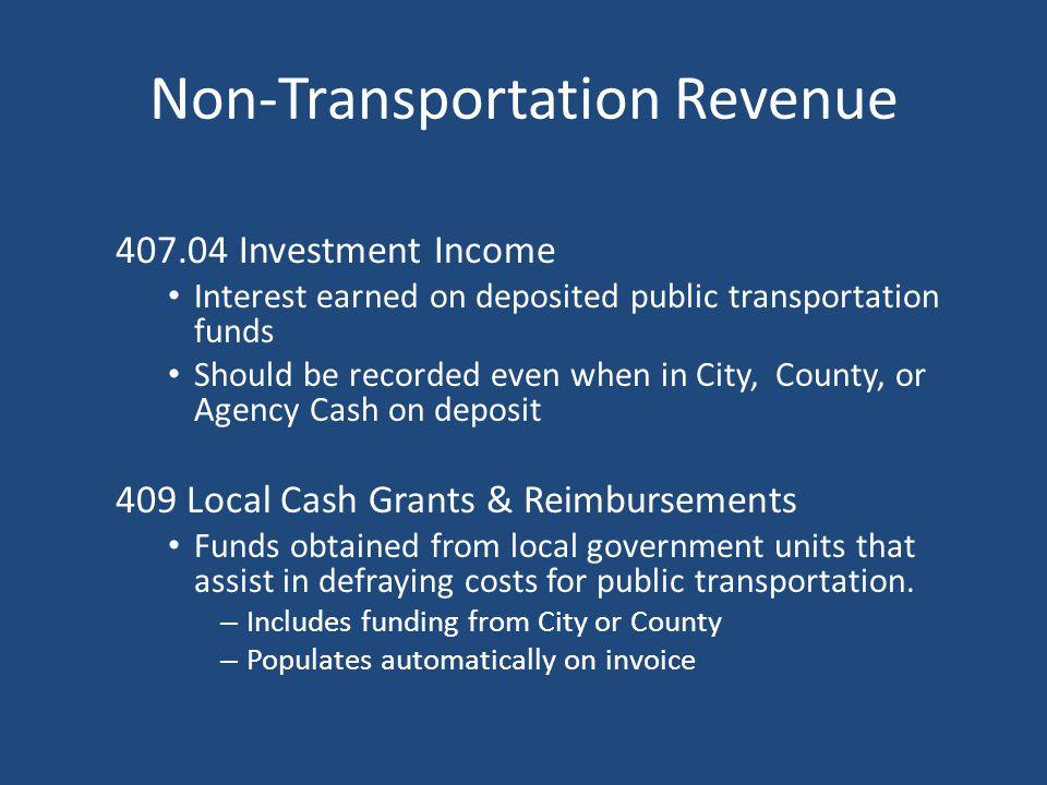 Transportation Revenue 406.03 Advertising Revenues Revenues received for selling advertising space on the interior or exterior of Operating vehicles –