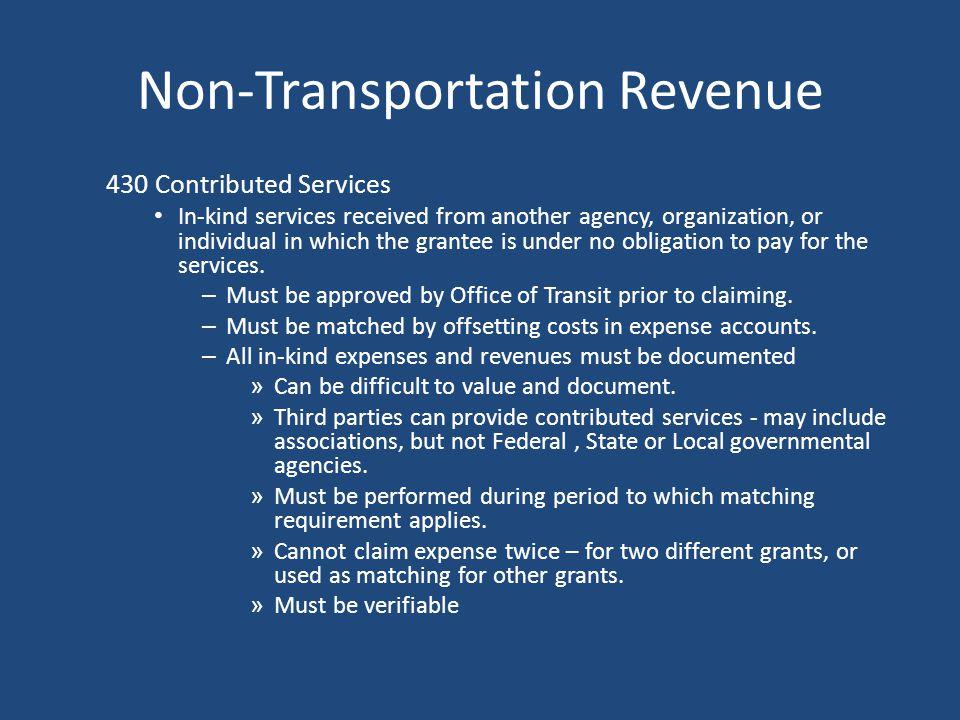 Non-Transportation Revenue 412.02 State Senior Citizens Fare Assistance Revenues received from the Ohio Elderly & Disabled (E & D) Transit Fare Assist