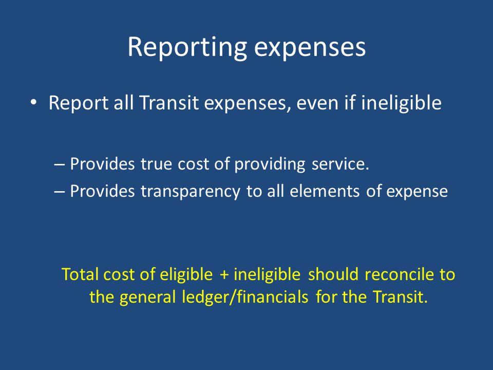 Eligible Expenses Per USOA: For transit agencies providing more than one mode of service, it is necessary to further identify and classify labor compe