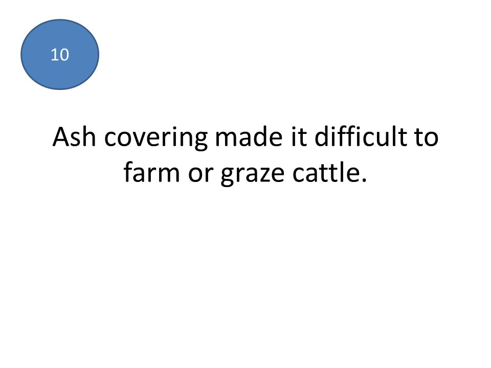 Ash covering made it difficult to farm or graze cattle. 10