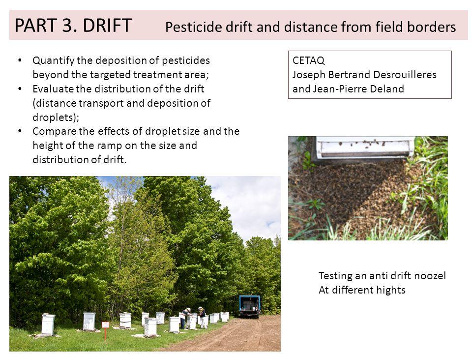 PART 3. DRIFT Pesticide drift and distance from field borders CETAQ Joseph Bertrand Desrouilleres and Jean-Pierre Deland Quantify the deposition of pe