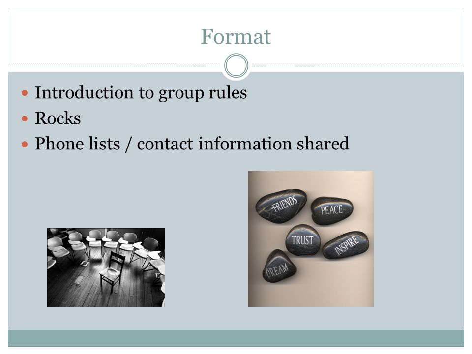 Format Introduction to group rules Rocks Phone lists / contact information shared
