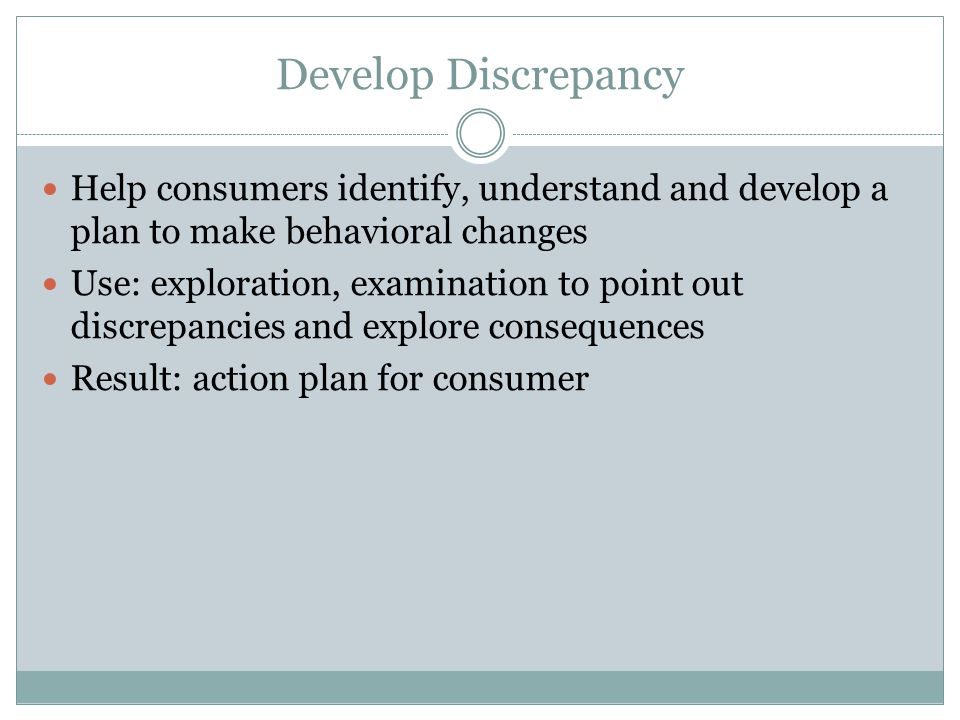Develop Discrepancy Help consumers identify, understand and develop a plan to make behavioral changes Use: exploration, examination to point out discr