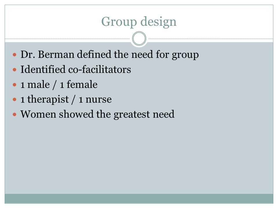 Format Why male to co-facilitate womens group.Why bi-weekly.
