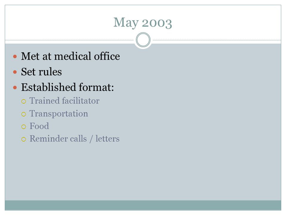 May 2003 Met at medical office Set rules Established format: Trained facilitator Transportation Food Reminder calls / letters