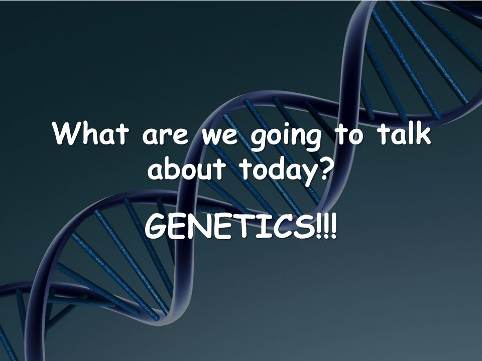 What are we going to talk about today? GENETICS!!!
