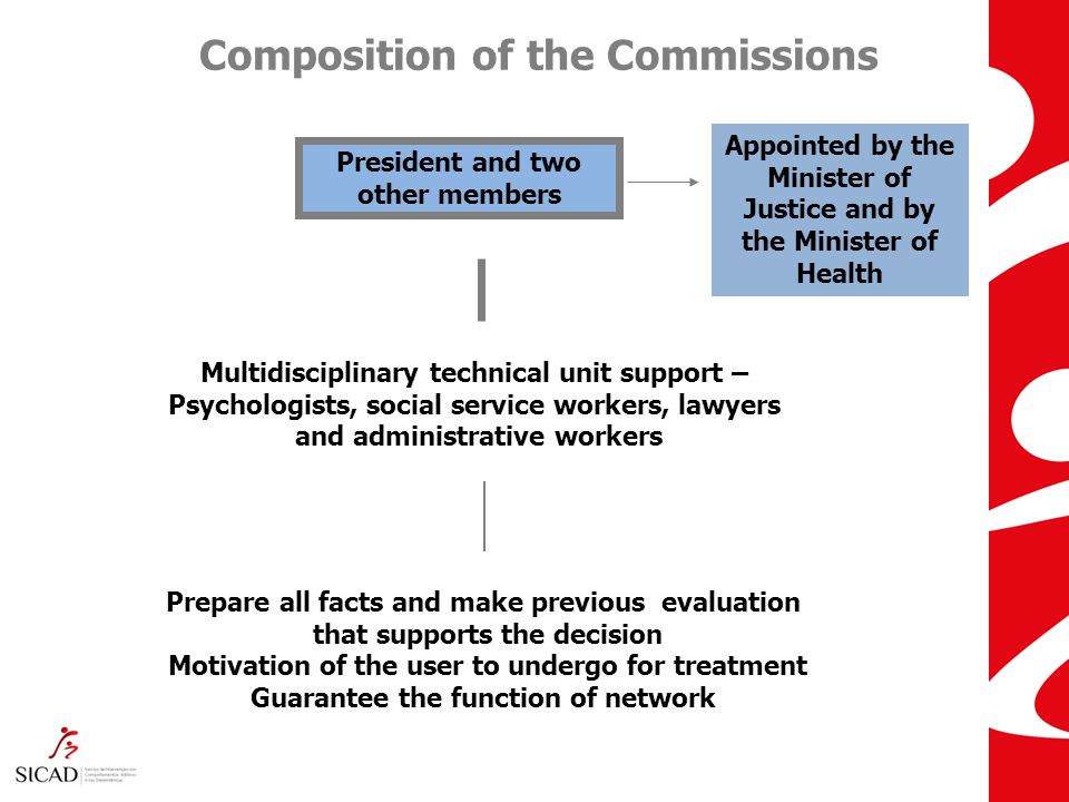 Composition of the Commissions President and two other members Appointed by the Minister of Justice and by the Minister of Health Multidisciplinary technical unit support – Psychologists, social service workers, lawyers and administrative workers Prepare all facts and make previous evaluation that supports the decision Motivation of the user to undergo for treatment Guarantee the function of network 17