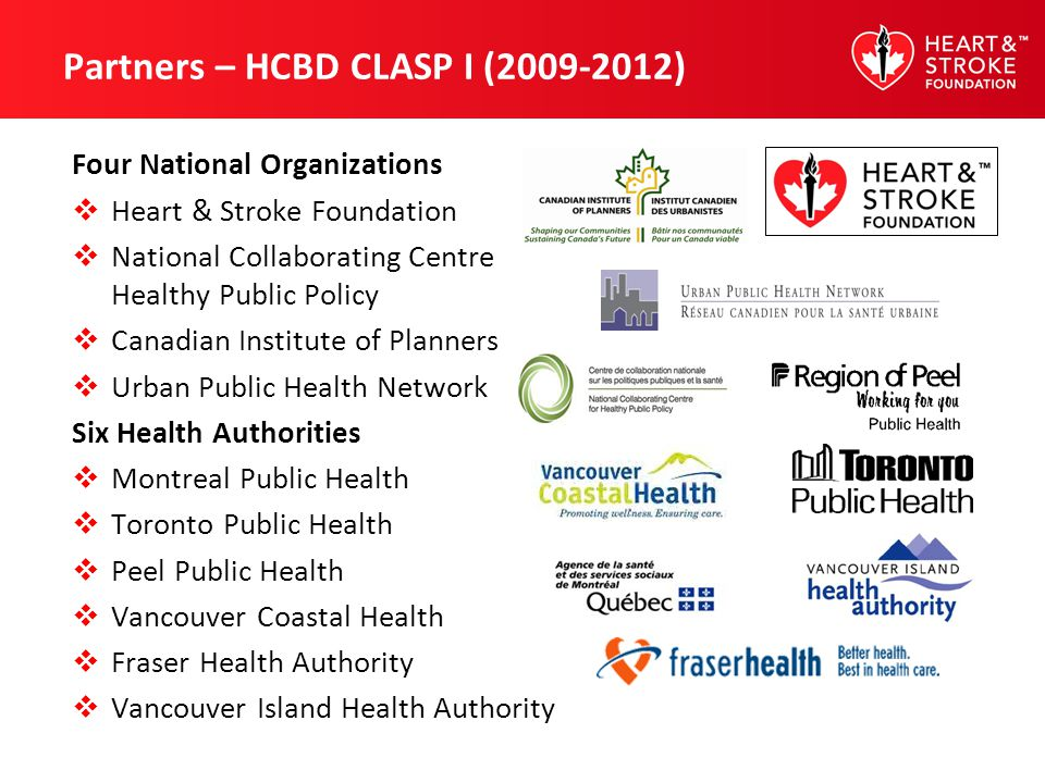 Partners – HCBD CLASP I (2009-2012) Four National Organizations Heart & Stroke Foundation National Collaborating Centre Healthy Public Policy Canadian Institute of Planners Urban Public Health Network Six Health Authorities Montreal Public Health Toronto Public Health Peel Public Health Vancouver Coastal Health Fraser Health Authority Vancouver Island Health Authority