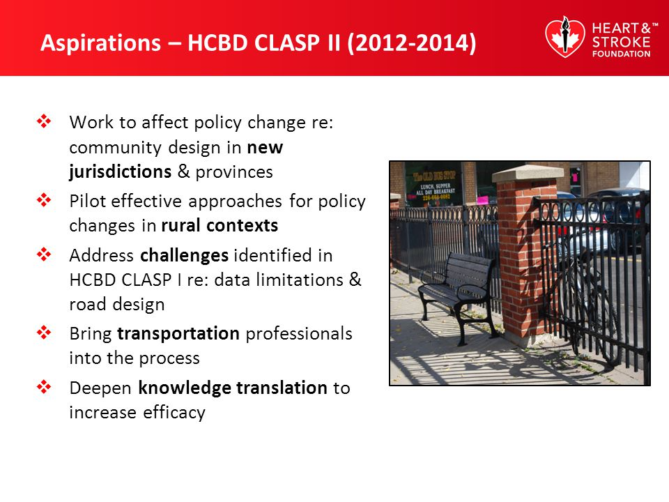 Aspirations – HCBD CLASP II (2012-2014) Work to affect policy change re: community design in new jurisdictions & provinces Pilot effective approaches
