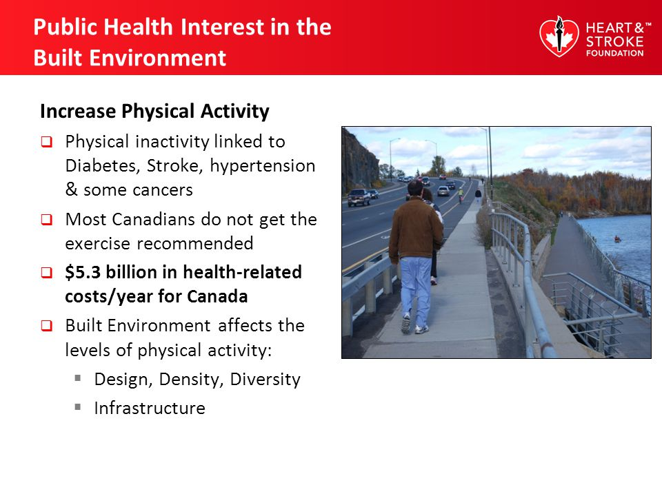 Public Health Interest in the Built Environment Increase Physical Activity Physical inactivity linked to Diabetes, Stroke, hypertension & some cancers