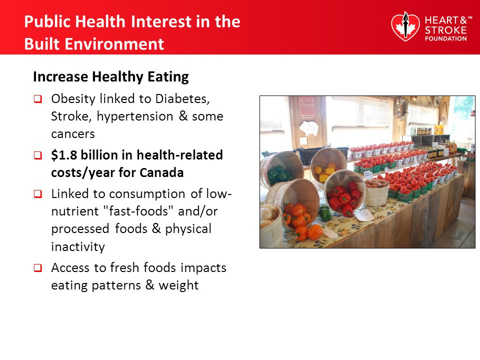 Public Health Interest in the Built Environment Increase Healthy Eating Obesity linked to Diabetes, Stroke, hypertension & some cancers $1.8 billion i
