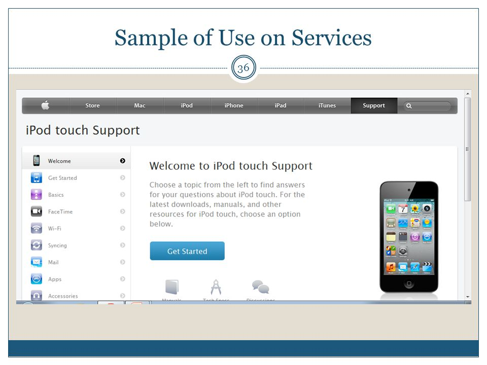 Sample of Use on Services 36